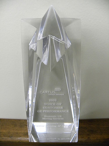 "Castine Moving & Storage Receives ""Voice of Customer"" Client Performance Award at Cartus 2009 Global Network Conference"