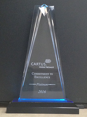 Castine Moving & Storage Receives Top Level, Commitment to Excellence Platinum Award  at Cartus 2016 Global Network Conference